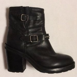 ASH Black Leather Moto Boots sz 37